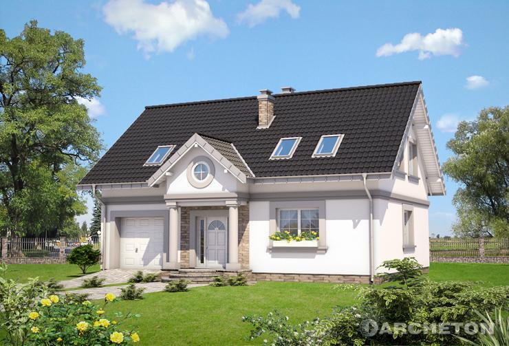 Projekt domu Skarbek - dom z użytkowym poddaszem, z dużym pokojem dziennym