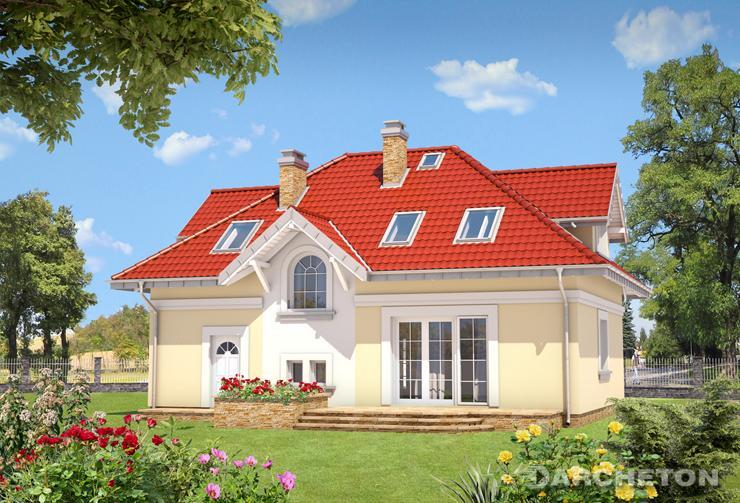 Projekt domu Skarbek Karo - dom w stylu dworkowym, z garażem w bryle budynku