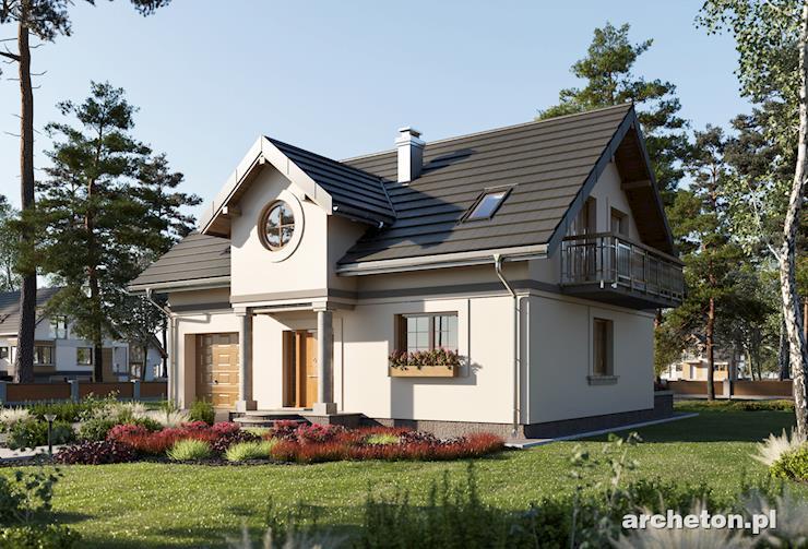 Projekt domu Skarbek Mini - mały dom z użytkowym poddaszem, z garażem na jeden samochód