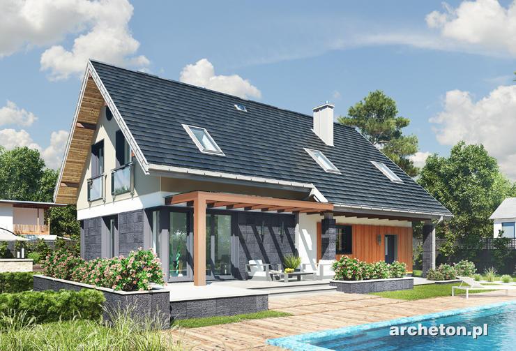 Projekt domu Skarbek Polo - funkcjonalny dom z dodatkowym pokojem na parterze i 4 sypialniami na poddaszu
