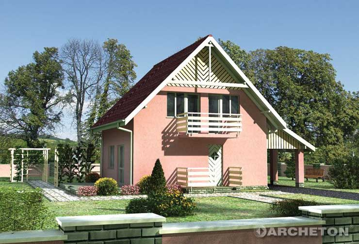 Projekt domu Skrzat - dom z dostawioną wiatą garażową, możliwą do zabudowania