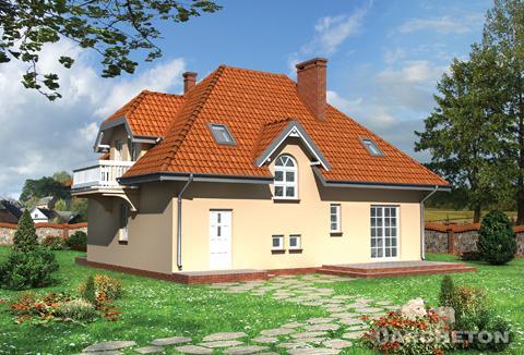 Projekt domu Ślężan - dom z balkonem od strony frontowej