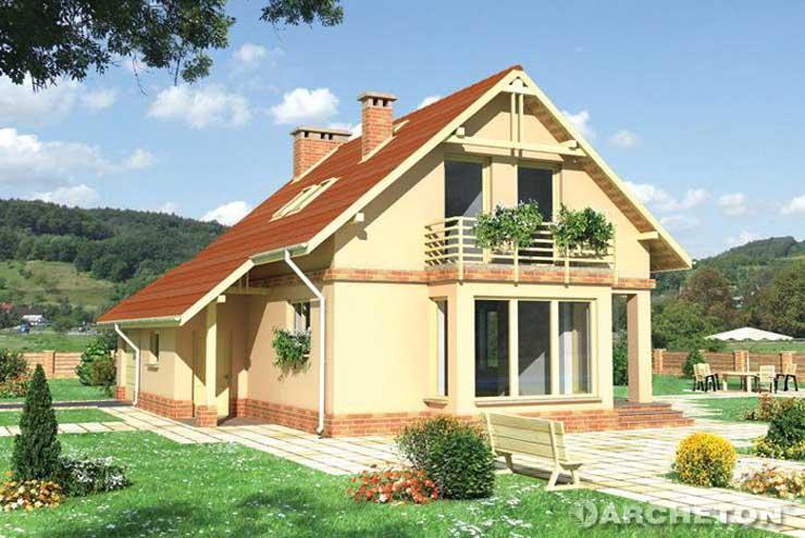 Projekt domu Słomka - dom z ryzalitem jadalni na elewacji szczytowej