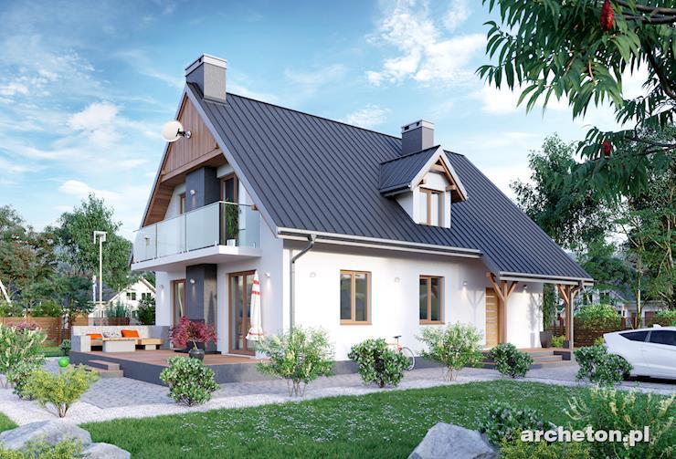 Projekt domu Słowik - dom wzbogacony o zewnętrzny kominek na tarasie