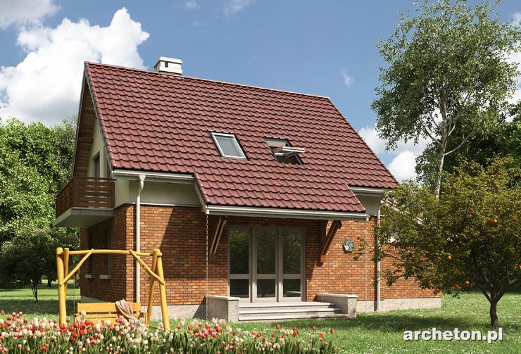 Projekt domu Smyk-2 - dom w elewacji klinkierowej z dużym zamkniętym pokojem dziennym