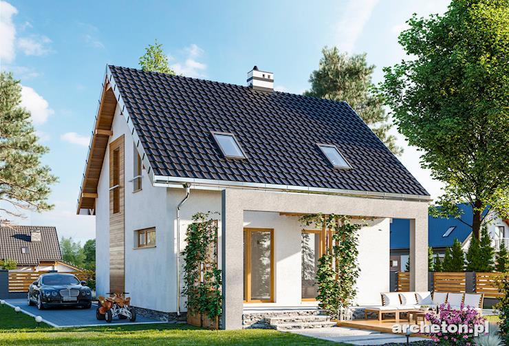 Projekt domu Smyk Neo - mały domek, bez garażu, z nowoczesnym daszkiem nad wejściem