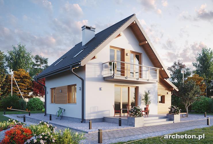 Projekt domu Smyk Twist - mały domek z użytkowym poddaszem, z garażem