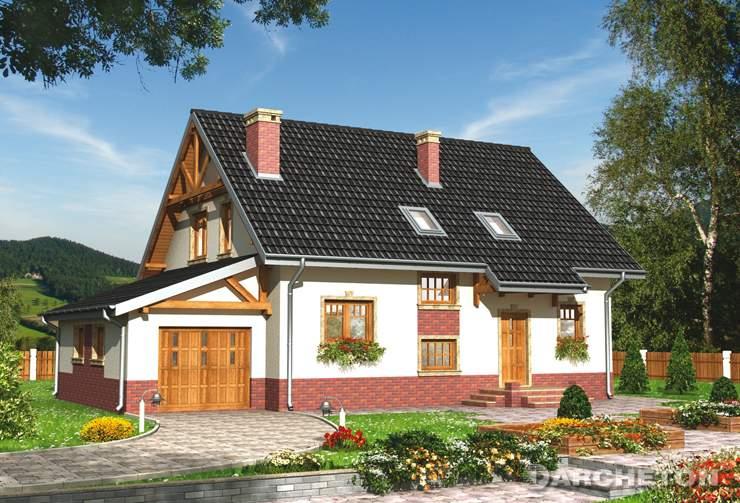 Projekt domu Sójka - dom z garażem dostawionym do bryły budynku
