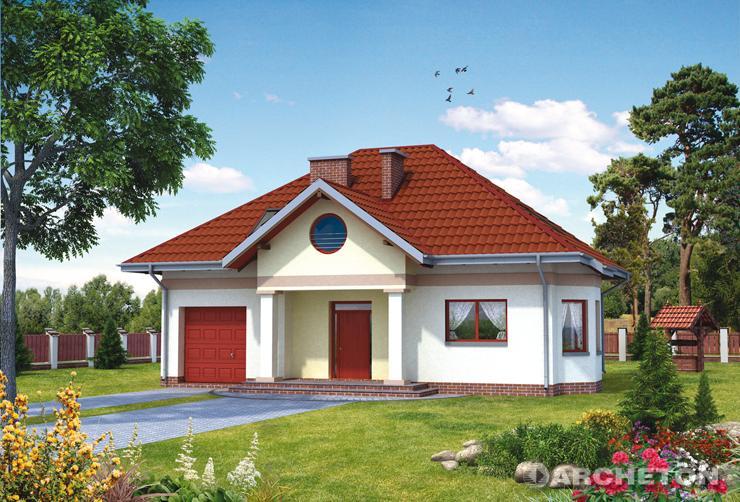 Projekt domu Sokół - niewielki dom w stylu dworkowym, z ryzalitem jadalni