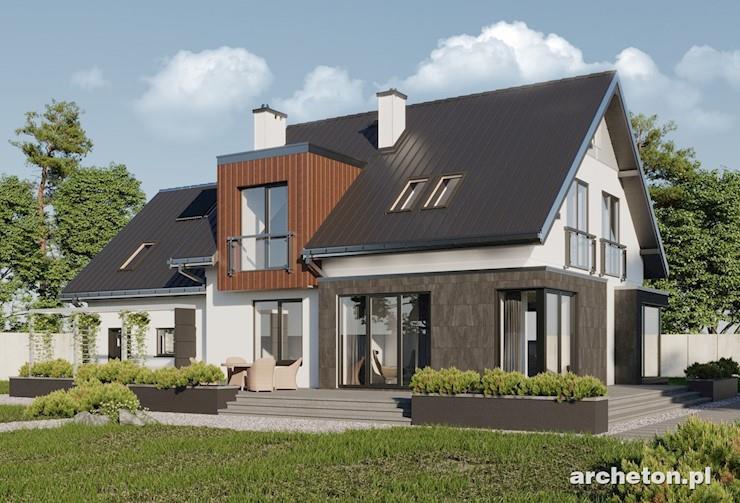 Projekt domu Solaris - nowoczesny dom, z dużą ilością przeszkleń, z garażem na dwa samochody