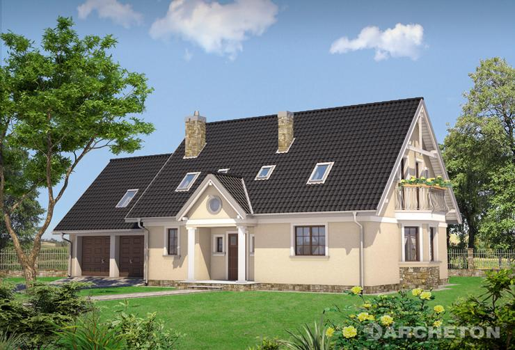Projekt domu Sonia Lux G2 - dom z dostawionym garażem na dwa samochody
