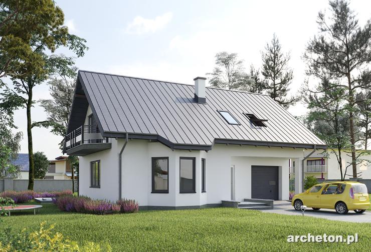 Projekt domu Spinka - przytulny domek z użytkowym poddaszem, z garażem