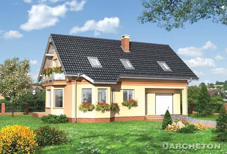 Projekt domu Spinka Midi - dom z ryzalitem pokoju dziennego i 2 balkonami