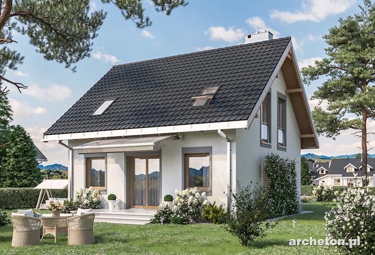 Projekt domu Staś - niewielki domek z ciekawym, kolumnowym portykiem