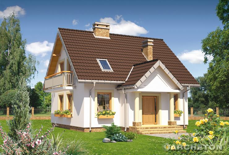 Projekt domu Staś Alter - dom z wysuniętym gankiem oraz kolumnowym portykiem