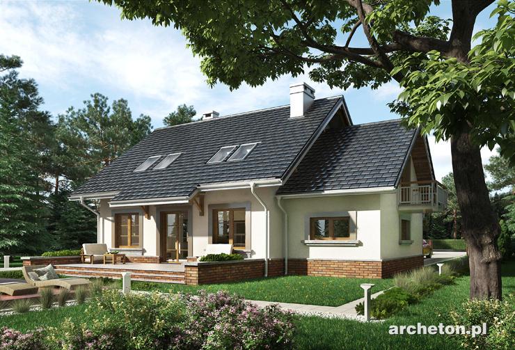 Projekt domu Staś Lux - dom z użytkowym poddaszem, z wielkim salonem