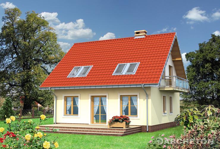 Projekt domu Staś Retro - niewielki dom z 3 sypialniami i dużym tarasem