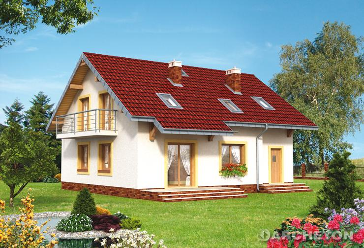 Projekt domu Stella - dom z użytkowym poddaszem, z dużym tarasem
