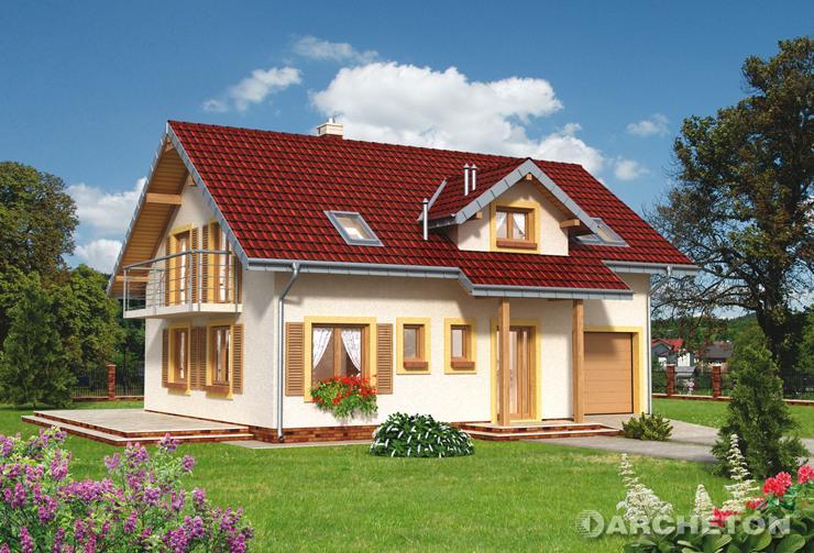 Projekt domu Stella - dom drewniany, z użytkowym poddaszem, z obszernym pokojem dziennym