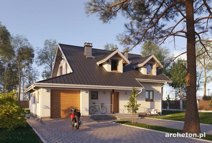 Projekt domu Stojan - średniej wielkości dom z dwoma lukarnami od frontu