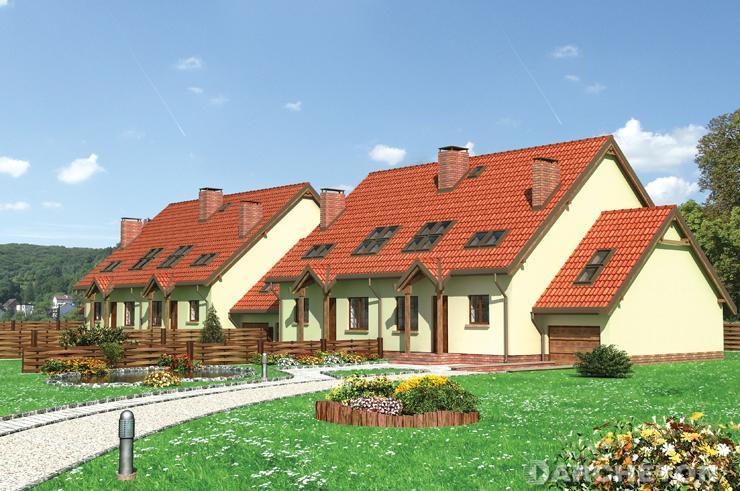 Projekt domu Stonoga (*) - dom z zadaszonym wejściem i lukarną