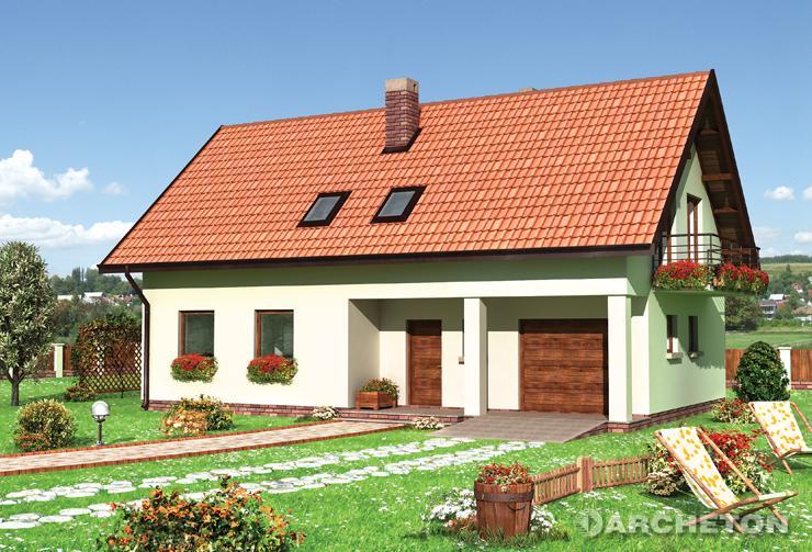 Projekt domu Storczyk - dom na planie prostokąta z 2 łazienkami na poddaszu