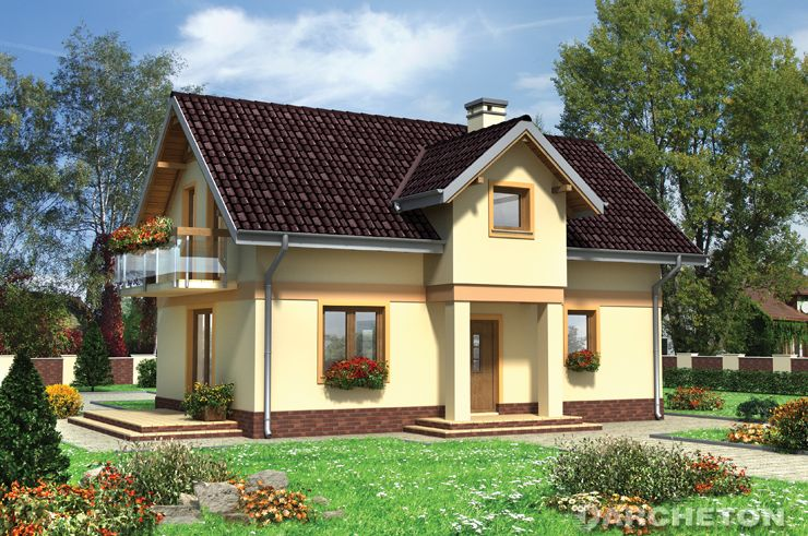 Projekt domu Strączek - niewielki domek z ozdobnymi obramowaniami okien