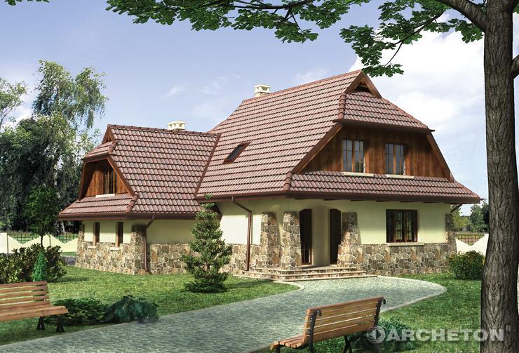 Projekt domu Struga - malowniczy dom z arkadowymi podcieniami wejścia i tarasu