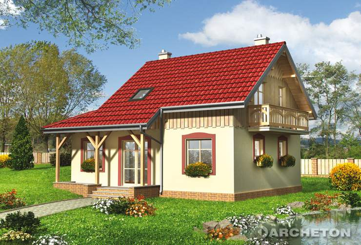 Projekt domu Strzyga - niewielki dom z podcieniami wspartymi na drewnianych słupach