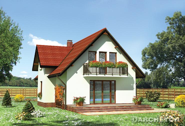 Projekt domu Supełek - dom z użytkowym poddaszem, z wysuniętą jadalnią