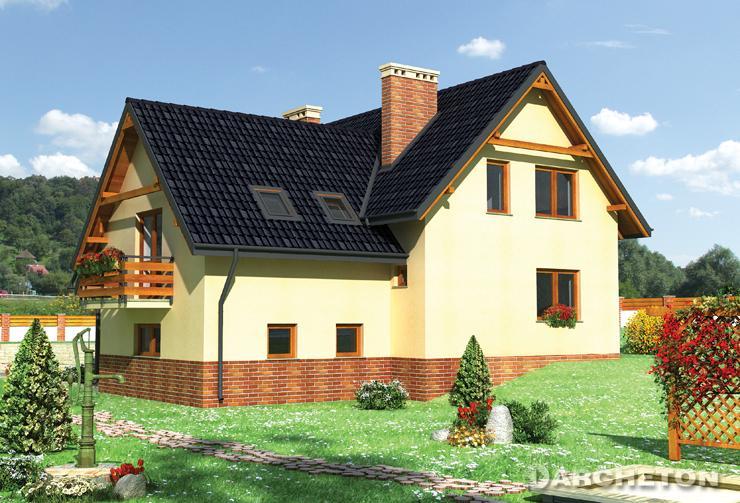 Projekt domu Świteź - dom z użytkowym poddaszem, na działkę z niewielkim spadkiem terenu