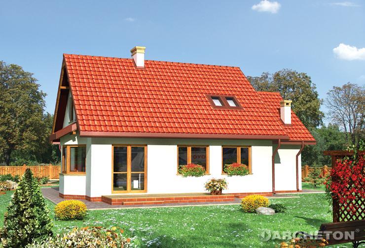 Projekt domu Sybilla - dom z użytkowym poddaszem, z przeszklonym ryzalitem