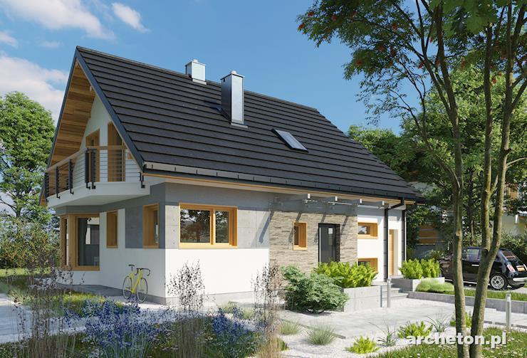 Projekt domu Sybilla - dom z użytkowym poddaszem i z charakterystycznym ryzalitem w części jadalnianej