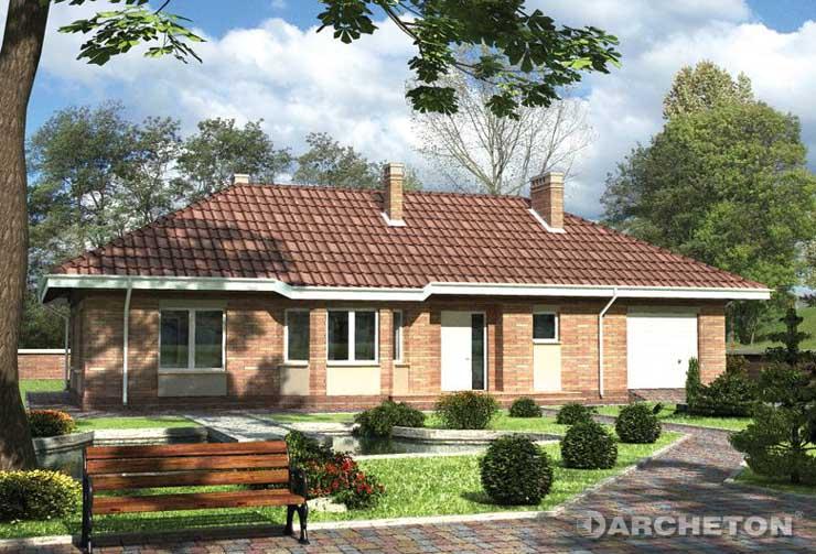 Projekt domu Syriusz - dom parterowy, z przeszklonym ryzalitem w kuchni