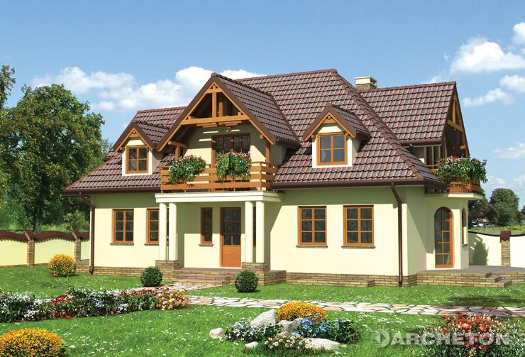 Projekt domu Szafran - dom z piwnicą, wzbogacony pięcioma lukarnami