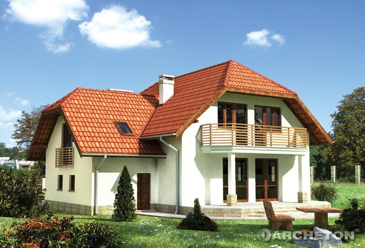 Projekt domu Szymon - dom pokryty naczółkowym dachem dwuspadowym