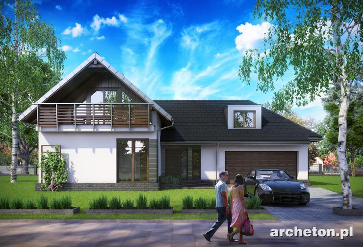 Projekt domu Tal - nowoczesny dom z tarasem zacienionym drewnianą pergolą