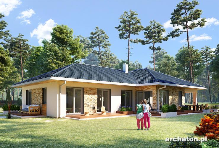 Projekt domu Tamara Polo - przestronny i nowoczesny dom parterowy, na planie litery T, z 4 sypialniami