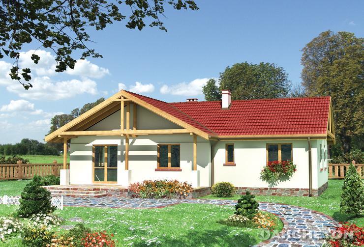 Projekt domu Tarnina - dom parterowy, z zadaszonym tarasem