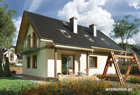 Projekt domu Tarot - dom z użytkowym poddaszem na planie prostokata