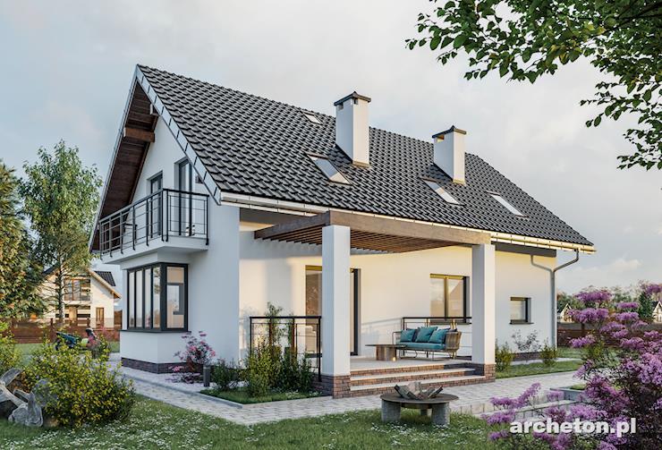 Projekt domu Tarot Atu - dom z balkonem nad wejściem i pergola od strony ogrodu