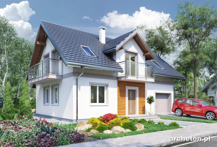 Projekt domu Tarot Mini - dom z przeszklonym balkonem nad drzwiami wejściowymi