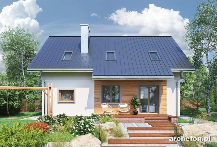 Projekt domu Tarot Sto - dom o prostej bryle, na planie prostokąta, pokryty dachem dwuspadowym