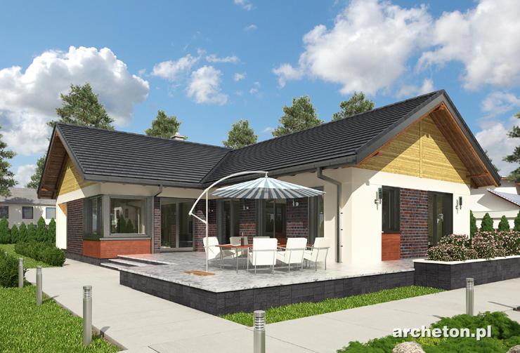 Projekt domu Tatiana - dom parterowy na planie litery T,  pięciopokojowy, z garażem