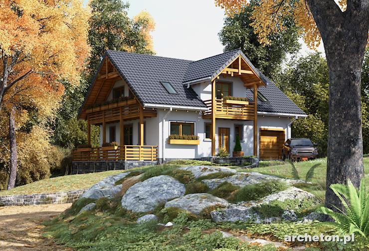 Projekt domu Tekla - piękny dom z charakterystycznymi elementami drewnianymi