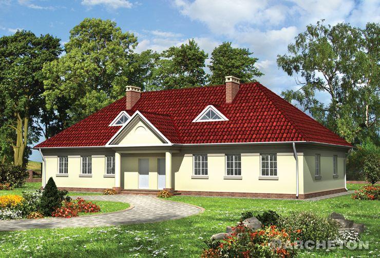 Projekt domu Telimena - dom w charakterze staropolskiego dworku, dwurodzinny