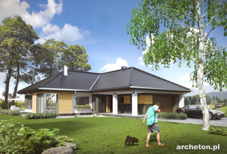 Projekt domu Teresa - nowoczesny dom parterowy na planie litery L, z garażem na dwa samochody