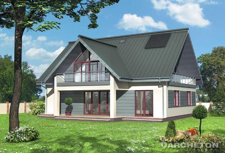 Projekt domu Tetra - średniej wielkości dom z werandą od strony ogrodu