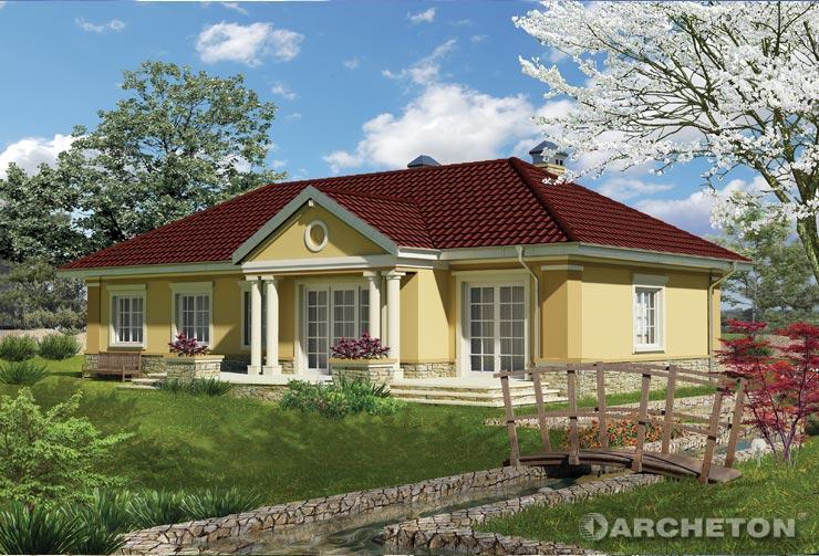Projekt domu Tetyda - rozłożysty dom parterowy z dwoma łazienkami