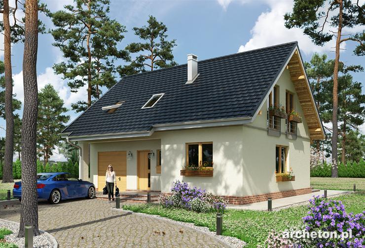 Projekt domu Tomir - nieduży dom z wc na parterze i łazienką na poddaszu